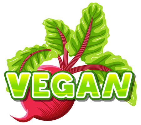 alimentation: vector illustration of the lettering vegan in front of a beetroot