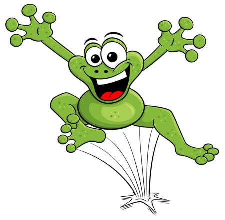 illustrazione vettoriale di una rana cartone animato che salta isolato su bianco