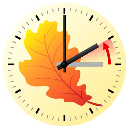 ends: vector illustration of a clock return to standard time daylight saving time ends Illustration