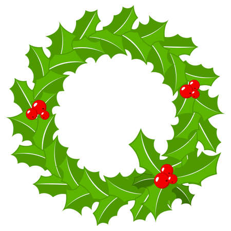 vector illustration of a round holly wreath frame on white