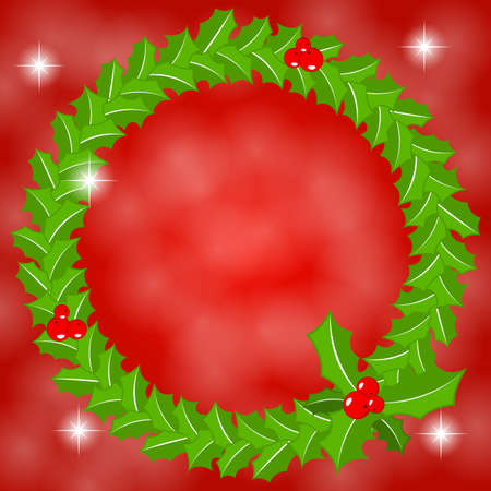 ilex: vector illustration of a round holly wreath frame Illustration
