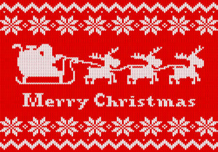 knit: vector illustration of a red and white Christmas knit greeting card