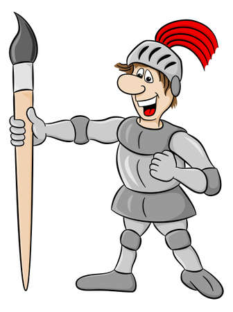 vector illustration of a small knight armed with paintbrush