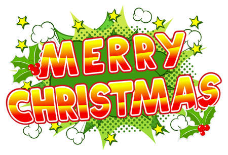 blowup: vector illustration of a Merry Christmas comic speech bubble