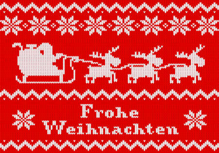 vector illustration of a red and white Christmas knit greeting card Frohe Weihnachten (german) = Merry Christmas