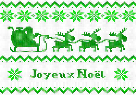 knit: vector illustration of a green and white Christmas knit greeting card Joyeux Noel (french) = Merry Christmas