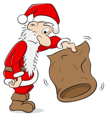 vector illustration of a santa claus with an empty bag