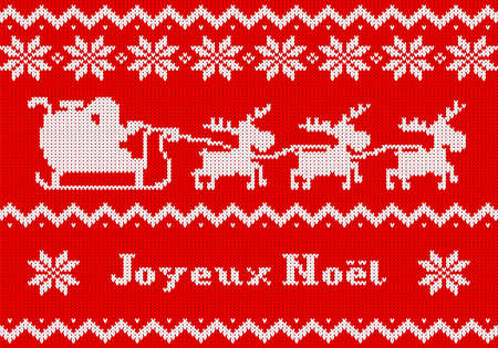 vector illustration of a red and white Christmas knit greeting card Joyeux Noel (french) = Merry Christmas Illustration