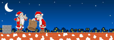 vector illustration of two santa claus with empty bag on a rooftop