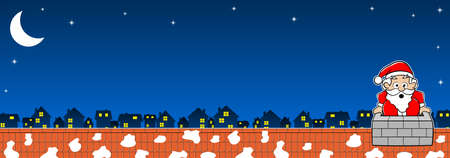 rooftop: vector illustration of Santa Claus stuck in the chimney