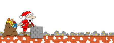 vector illustration of santa claus at work on a roof Illustration