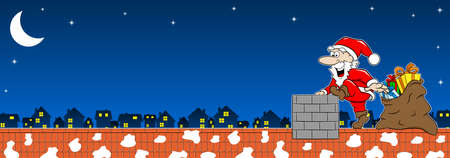 vector illustration of santa claus at work on a roof Ilustracja