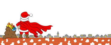 vector illustration of santa claus hero at work on a roof Ilustracja