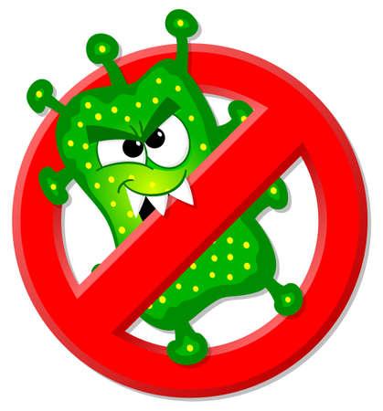 vector illustratie van virussen zijn niet toegestaan teken