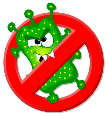 causative: vector illustration of viruses are not permitted sign Illustration
