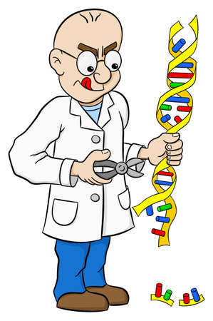dna sequencing: vector illustration of a cartoon geneticist who makes genetic manipulation