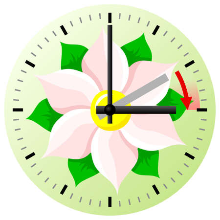 vector illustration of a clock switch to summer time  daylight saving time begins Illustration