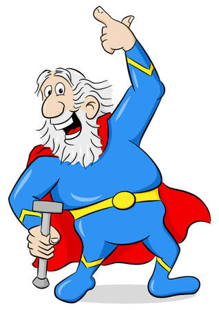 heroism: vector illustration of a senior super hero with cape