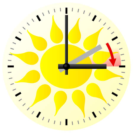 vector illustration of a clock switch to summer time  daylight saving time begins Ilustrace