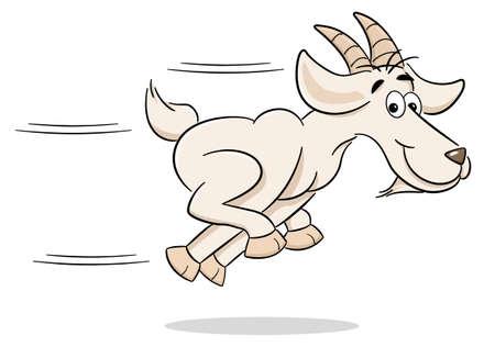 vector illustration of a running cartoon goat Vettoriali