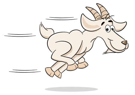 vector illustration of a running cartoon goat Ilustração