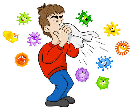 vector illustration of a sneezing man with germs Фото со стока - 73539034