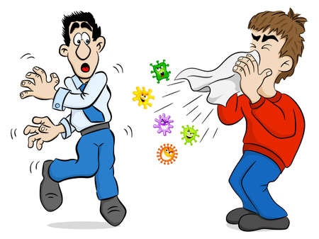 bacteriological: vector illustration of a sneezing man with germs