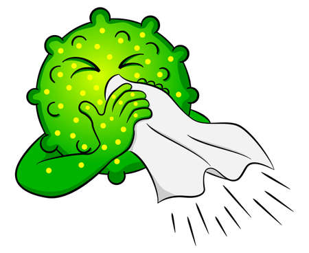 blowing nose: Illustration of a cold virus is sick