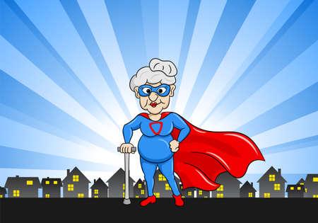 Artistic vector illustration of a senior super heroine with cape Illustration