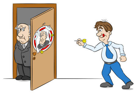 Vector illustration of an employee playing dart on the portrait of his boss