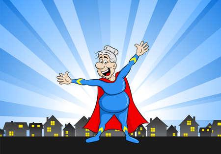 Illustrazione vettoriale di una super heroina superiori con capo