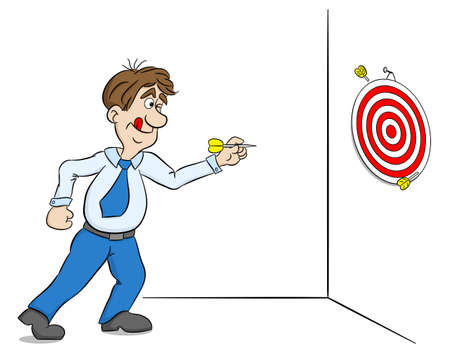 vector illustration of a cartoon man playing dart