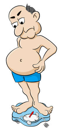 vector illustration of a overweight man on bathroom scale Stock Illustratie