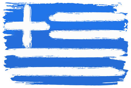 vector illustration of a flag of Greece painted with brush strokes