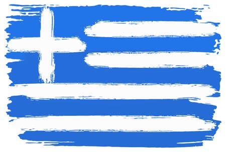 Vektor-Illustration einer Flagge Griechenlands mit Pinselstrichen gemalt Vektorgrafik
