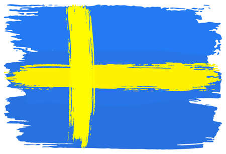 vector illustration of a flag of Sweden painted with brush strokes