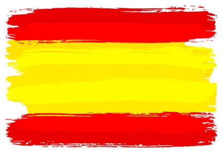 illustrazione vettoriale di una bandiera della Spagna dipinta con pennellate