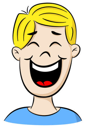 smirk: vector illustration of a portrait of a laughing cartoon man