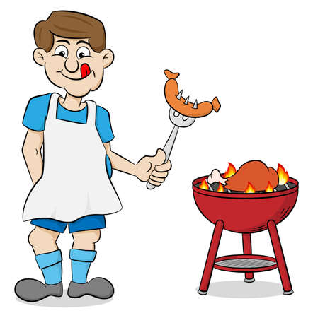 vector illustration of a man with apron grilling steak and sausages