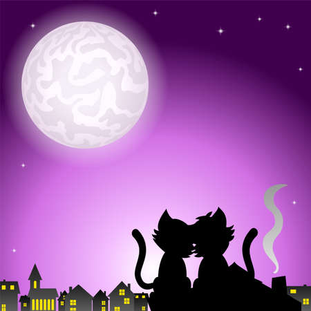 vector illustration of a cat couple on a roof at full moon