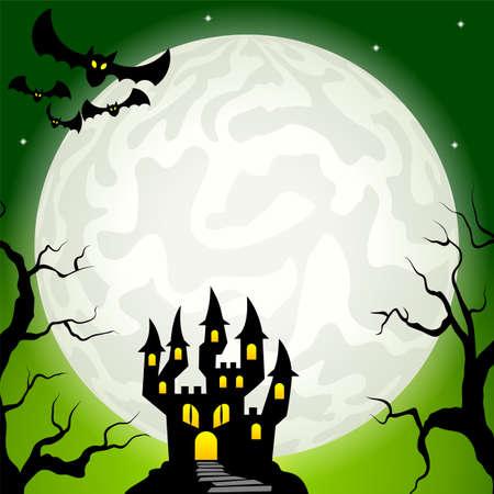 vector illustratie van een spookkasteel in een volle maan nacht