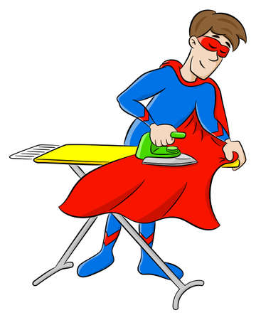 vector illustration of a hero ironing his cape Ilustrace