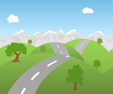 A vector illustration of a seamless mountain landscape with road.