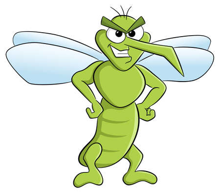 A vector illustration of a bloodthirsty cartoon mosquito o white. Illustration
