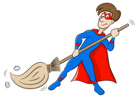 vector illustration of a cartoon hero who sweeps