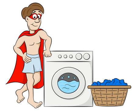 Illustration of a cartoon hero washing his clothes Vektorové ilustrace
