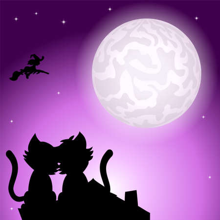 Couple kitten on a roof at full moon icon. Ilustração