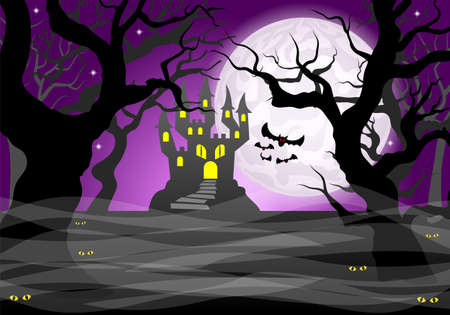 Dark ghostly forest and full moon illustration.