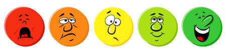 vector illustration of rating icons with emotional faces