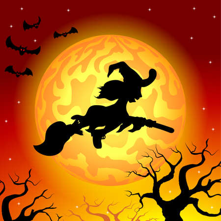 vector illustration of a witch flying over the moon